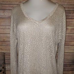 XL long sleeve tan leopard print shirt